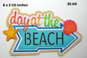 A DAY AT BEACH TITLE  summer boy girl scrapbook premade paper piecing by Rhonda