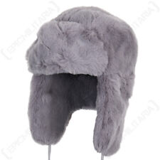 Grey Faux Fur Ushanka - Winter Warm Russian Cossack Thick Ski Ear Flap Hat New