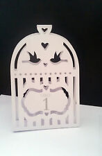 1 - 12 table numbers for weddings and parties Heart Dove Birdcage white card