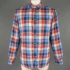 GITMAN VINTAGE Size XL Red White & Blue Plaid Cotton Long Sleeve Shirt