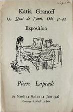 Pierre Laprade (1875-1931/32) carton d'exposition Galerie Katia Granoff 1946