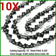 "10XCHAINSAW CHAINS .325 063 68DL FOR STIHL 18"" BAR MS250 MS251 MS230 MS231 025"