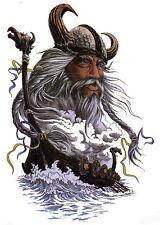 Viking Warrior Long Boat Large Temporary Tattoo