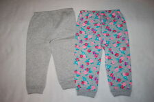 Baby Girls 2 Lot Sweat Pants Heather Gray Gray W/ Roses Pink Purple Teal 18 Mo