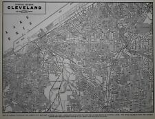 Vintage 1940 World War WWII Era Atlas City Map Cleveland, Ohio, OH Black & White