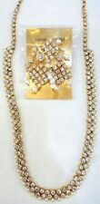 WHITE CZ PEARL GOLD TONE LONG RANI HAAR NECKLACE SET INDIAN BOLLYWOOD JEWELRY