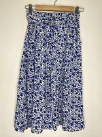 Sportsgirl Boho Blue & White Floral Midi Skirt With Pockets Size 8 EUC