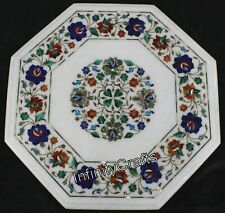15 x 15 Inches White Marble Sofa Side Table Top Gemstones Inlaid Coffee Table
