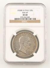1928-R VI Italy 20 Lire Silver Coin XF-40 NGC Vittorio Emanuele Rome Lira KM#69