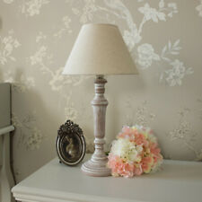 Rustic wooden table lamp linen shade shabby chic bedroom home decor lighting