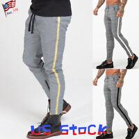 Men Plaids Pencil Pants Stretchy Casual Trousers Slim Fit Side Striped Retro US