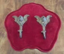 Vintage JEWELRY Lingerie HANGER Winged Cupid Hooks Red Velvet Shaped Backboard