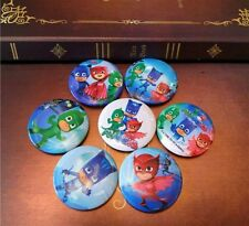 PJ MASKS BADGES X2 BIRTHDAY PARTY LOLLY LOOT BAG BOX DECORATION BADGE SIZE 4.4CM