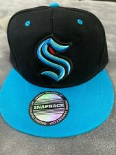 � Seattle Kraken Nhl Hockey Official Logo Hat Cap Black & Blue Snapback New �
