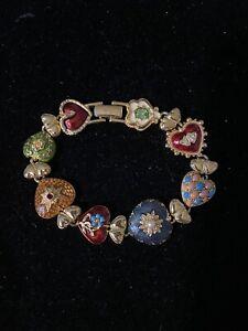 Joan Rivers Hearts And Flowers Victorian Enamel Bracelet