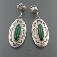 Vintage Handmade 925 Silver Green Glass Wedding Dangle Earrings Jewelry