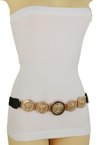 Women Black Elastic Fashion Celeb Stylish Belt Gold Metal Medusa Charms Size S M