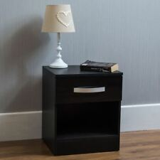 Hulio High Gloss Bedside Cabinet Black 1 Drawer Metal Handles Bedroom Furniture