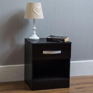 Hulio High Gloss Bedside Cabinet Black 1 Drawer Metal Handles Bedroom Furniture