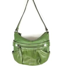 Tignanello Green Pebbled Leather Shoulder Hobo Handbag Purse Zip Pockets