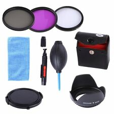 58MM UV CPL FLD Filter Kit+Lens Hood Cap for Canon Rebel T6i T5i T4i T3i 18-55mm