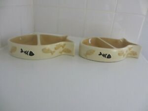 Pair of beige china cat feeding dishes