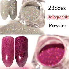 2Boxes Holographic Glitter Powder Dust Holo Laser Nail Art   Tips DIY