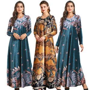 Plus Size Muslim Women Floral Print Long Maxi Dress Islamic Kaftan Jilbab Robe