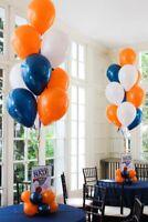 """12"""" Blue Orange White Mix Pearl/Metallic Balloons Birthday Wedding Celebration"""