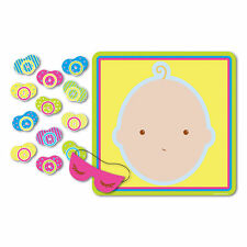 1 Baby Shower Party Game PIN THE PACIFIER ON THE BABY for 12 Guests Fun Games