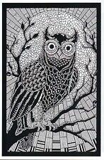 Owl Sitting in Tree as Coloring Book Image, Bird, Moon ?- Modern Animal Postcard