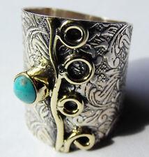 Floraler Türkis-Ring, 925er Sil., Gr. 55