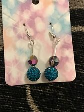 Turquoise And Swarovski Beaded Earrings With A Sparkle