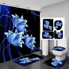 Blue Flower Art Door Bath Mat Toilet Lid Cover Rug Shower Curtain Bathroom Decor