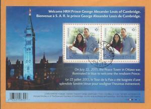 2013 HRH Prince George of Cambridge Souvenir Sheet First Day Cancel