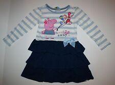 New UK Girls Peppa Pig Balloons Ruffle Skirt Dress Size 5 6 116cm Long Sleeves