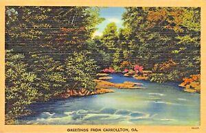 CARROLLTON GEORGIA~GREETINGS FROM 1945 PSTMK + MESSAGE POSTCARD
