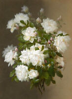 Hand painted Oil painting Raoul Maucherat de Longpre White Roses spring flowers