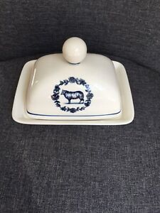 RARE Molly Hatch Anthropologie Covered Butter Dish Ivory Ceramic Blue Sheep EUC