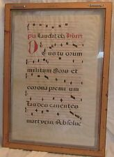 1680 Original Church Prayers HYMM on Lamb skin from Spain Authentic Framed Rare