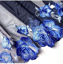 2 Yards Lace Trim Black Tulle Blue Floral Embroidered Tulle Lace 5.9 Inches Wide