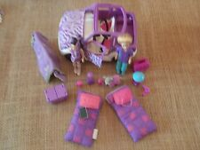 Polly Pocket Lot Dolls Girl Dog Jeep Car Vehicle Camping Purple Accessory X54