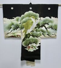JAPANESE SILK KIMONO / FOR CHILDREN / EMBROIDERY EAGLE / PINE TREE / BLACK /86