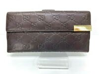 Auth GUCCI GG Pattern Brown Leather Long Wallet Purse 59114379