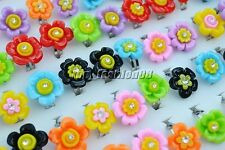 Wholesale Lots 10pcs Mixed Color Resin Flower CZ  Kid/Girl's Rings Adjustable