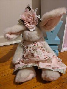 The Bearington Collection White Plush Fur Rabbit Pinkish Dress Flower 39cm