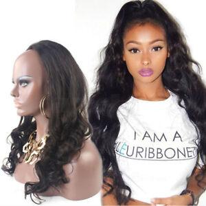 Remy 3/4 Half Wig 100% Human Hair Half Wig Long Wavy Hair Machine Weft Cap