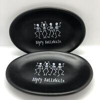 Rae Dunn By Magenta Happy Halloween Dancing Skeletons Black Oval Plates Set Of 2