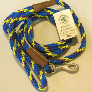"""Mendota Products Dog Snap Leash  6' Long 3/8"""" Thick 50 Lbs Blue Yellow Rope NOS"""
