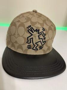 COACH x Keith Haring Mens Signature Flat Brim Hat Cap Tan Adjustable RARE